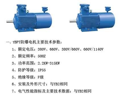 YBPT變頻防爆電機主要技術參數,如圖所示